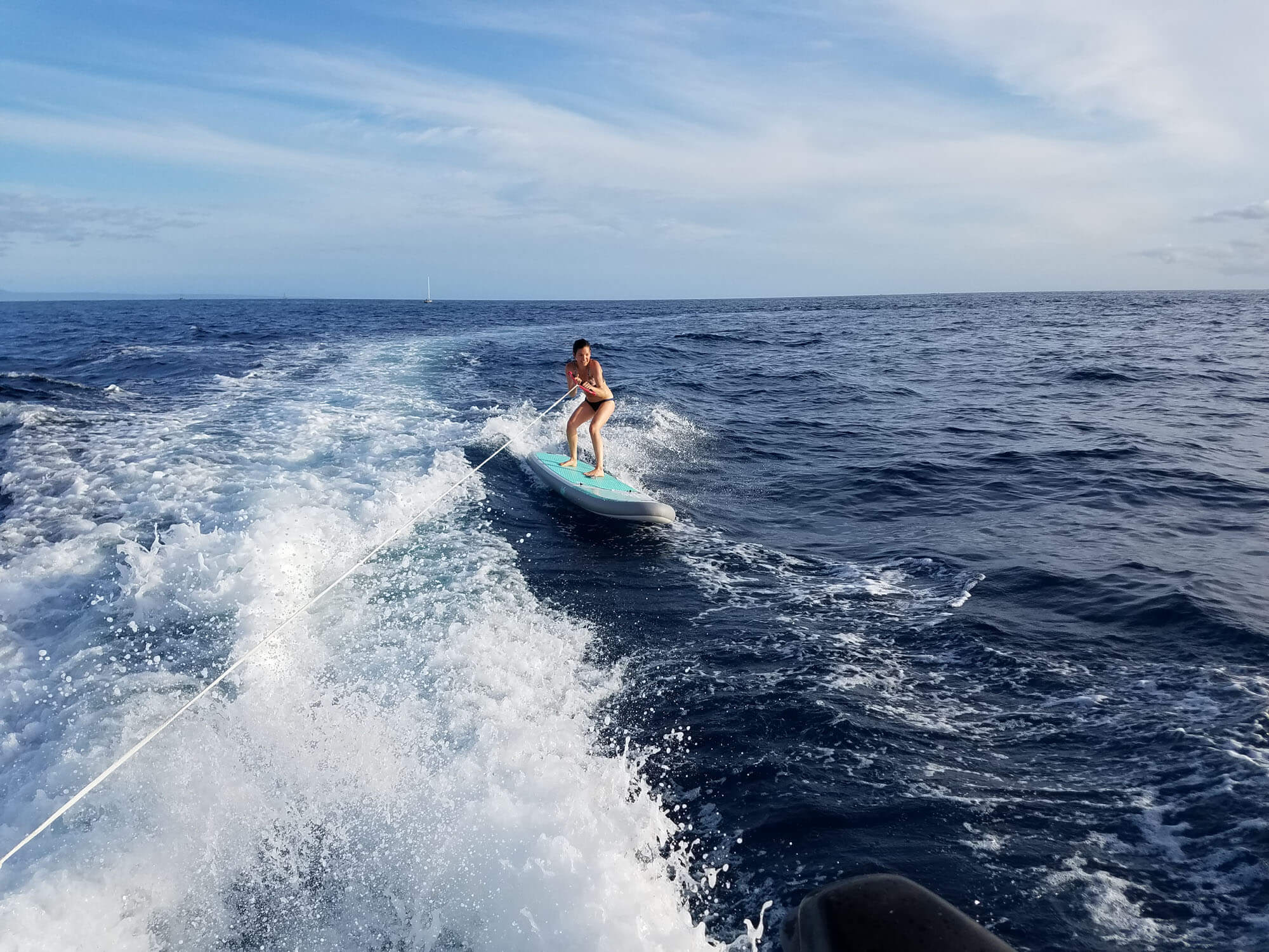 Kristina Surfing Behind the Boat